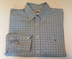 LACOSTE Blue Check Long Sleeve Dress Shirt Men Size 45 XXL 2XL