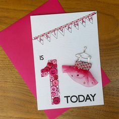 Personalised First Birthday Card  One Year Old Girl by cushobi