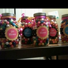 possible party favor ideas. could bag up some form of bubble gum, wrap it in a bag, and write on it 50th Birthday Favors, Moms 50th Birthday, Birthday Party Centerpieces, Happy Birthday Parties, Adult Birthday Party, 50th Birthday Party, Birthday Ideas, Diy Party, Party Gifts