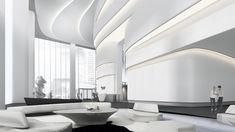 Citygroup Lobby Interior, Interior Architecture, Interior Design, Futuristic Interior, Futuristic Design, Luxury Modern Homes, Luxury Home Decor, Zaha Hadid Interior, Hotel Lobby Design