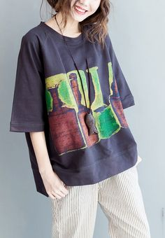 Dark gray oversized cotton shirts tops colorful glasses city print summer shirts