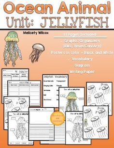 Included in this product are 11 pages of graphic organizers, posters, writing paper, and vocabulary words to get started on a nonfiction unit about jellyfish.  Pages can be printed out in poster size for students to use during collaborative conversations and activities.Graphic Organizers (3 pages student work PLUS 2 posters):2 KWL Charts, one vertical and one horizontal1 Have / Can / Are / Live / Eat2 Have / Can / Are / Live / Eat Posters- one in color and one in black and whiteLined Paper…