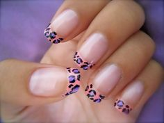 This is another variation of the cheetah nails.... (use a strip of tape to get a clean line for the tip)