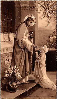 Antique Vintage French Holy Prayer Card Jesus Giving Communion to Young Girl | eBay