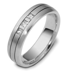 Platinum, 6.0 mm wide, comfort fit, diamond wedding band. Diamonds total weight is 0.21 ct and are graded as VS1 in Clarity G in Color. The ring is a matte finish. Different finishes may be selected or specified.