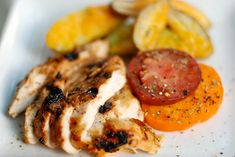 Honey Lime Chicken  accompanied by fresh heirloom tomatoes and roasted fingerling potatoes w/cheddar  Leave it to Sunset Magazine to com...
