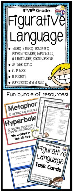 Updated! This 51 page Figurative Language Unit has everything you need to teach idioms, metaphors, similes, hyperboles, alliteration, onomatopoeia and personification. Task cards, posters, flip book, worksheets and a quiz! Fun for your students and helps them understand so many phrases we use in the English language. I love teaching these concepts to my kids! (TpT Resource) Teaching 5th Grade, 4th Grade Writing, 5th Grade Reading, Guided Reading, Fourth Grade, Teaching Place Values, Similes And Metaphors, Powerpoint Lesson, Alliteration