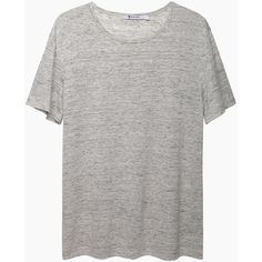 T by Alexander Wang Heathered Linen Tee (€115) ❤ liked on Polyvore featuring tops, t-shirts, shirts, tees, draped shirt, heathered shirt, drape top, linen t shirt and linen tee