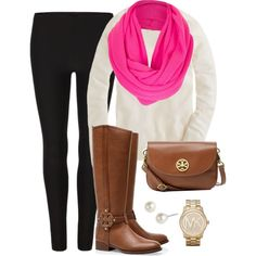 Tory Boots? yes. Tory bag? yes. Michael Kors watch? Oh yes. Pink scarf to add WOW to the outfit. YES.