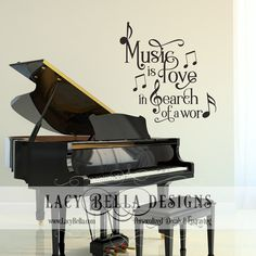"www.lacybella.com  ""Music Is Love In Search of a Word"" vinyl wall decal lettering music room quote  : Lacy Bella 