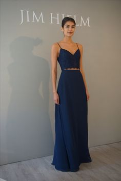 Bridesmaid Dresses A two-piece bridesmaids dress by Hayley Paige Occasions Grad Dresses, Ball Dresses, Homecoming Dresses, Ball Gowns, Prom Dress, Pinterest Bridesmaid Dresses, Navy Lace Bridesmaid Dress, Two Piece Formal Dresses, Navy Formal Dress