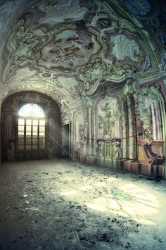 A fascinating room in an abandoned villa in Italy.  The art on the walls and arched ceiling is amazing.