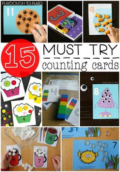 15 free counting cards for kids. Fun, hands-on number recognition, one to one correspondence, fine motor and counting practice.