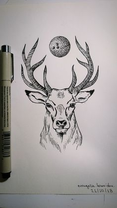22 ideas line art tattoo animals drawings for 2019 Dotted Drawings, Cool Art Drawings, Pencil Art Drawings, Art Drawings Sketches, Tattoo Drawings, Drawing Ideas, Sketch Tattoo, Hatch Drawing, Deer Drawing