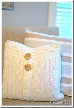 Knockoff cable knit pillow!  I saw one just like this at JC Penney's and it was FORTY DOLLARS.  Making it from thrift store castoffs?  Much cheaper!