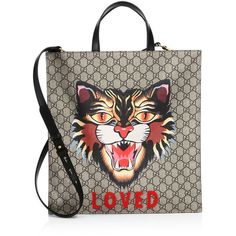 Gucci Angry Cat-Print Soft GG Supreme Tote (3.717.625 COP) ❤ liked on Polyvore featuring bags, handbags, tote bags, brown leather purse, leather tote purse, leather man bags, brown leather handbags and hand bags