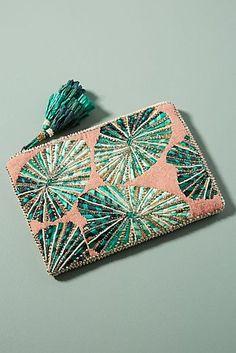 Anthropologie Palm Prints Clutch - Fashion For Women - Ad Marc Jacobs Handbag, Designer Wallets, Beaded Bags, Handmade Bags, Handmade Leather, Vintage Leather, Leather Handbags, Leather Totes, Leather Bags