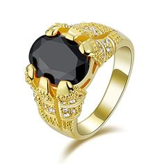 Suohuan Fashion Jewelry Men's 18K Gemstone Black Gold Plated Sapphire Blue CZ Gift Rings Size 8. Material :Yellow Gold plated + AAA Quality Brilliant Huge Black Cubic Zirconia. Flawless AAA Grade Cubic Zirconia that reveals brilliant shine and a meticulous cut. Chic and sophisticated, this ring is a wardrobe staple. And suitable for any occasion, dressy or causal. Easy to match the clothes. Best gift for Fathers day,Graduation,Birthday,Anniversary,Wedding,Christmas day for…