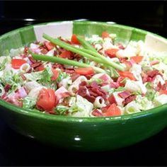 BLT Pasta Salad Allrecipes.com  -Ingredients Edit and Save  Original recipe makes 10 servings Change Servings          1 (16 ounce) package medium seashell pasta      1 pound sliced bacon      1 1/2 cups light Ranch-style salad dressing      1 small onion, chopped      2 tomatoes, chopped