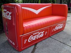 """Coca Cola Metal Couch converted from antique cooler. Size is Wide, 35 """" high, deep. Really comfortable, seats 3 people. Perfect for the Coca Cola collector or for your mancave or office seating area, restaraunt? Couch Furniture, Antique Furniture, Man Cave Antiques, Coca Cola Cooler, Bus Living, Cool Couches, Tub Chair, Accent Chairs, Office Seating"""