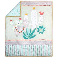 Little Llama 5 Piece Mint Green and Grey Baby Crib Bedding Set Crib Sets For Boys, Cot Sets, Grey Baby Cribs, Baby Crib Bedding Sets, Mint Green Background, Cot Quilt, Green Bedding, Quilt Sizes, Boho Baby