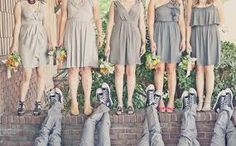 cute bride and groomsmen picture