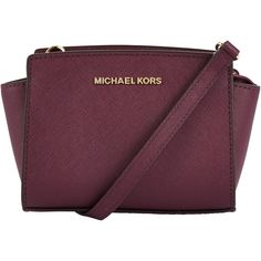 MICHAEL Michael Kors Selma Mini Leather Messenger Bag , Plum ($190) ❤ liked on Polyvore featuring bags, messenger bags, plum, leather courier bag, leather crossbody, purple messenger bag and leather cross body bags
