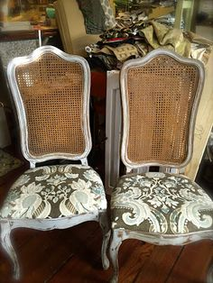 SheShe, The Home Magician: A pair of frenchy cane-back chairs……..