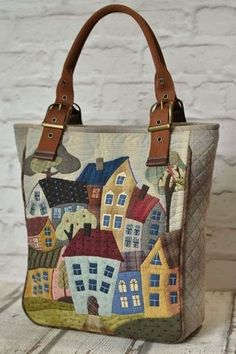 Best 12 artchala handmade: HandCarry Bag : Holiday Beach Hut – Page 199143614749798788 – SkillOfKing.Com - Tašky - Patchwork Patchwork Bags, Quilted Bag, Patchwork Quilting, Patchwork Designs, Bag Quilt, House Quilts, Craft Bags, Denim Bag, Fabric Bags