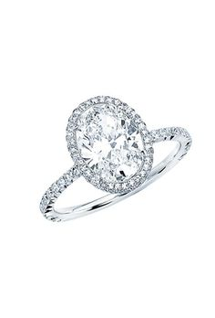 Brides: Martin Katz. Oval-cut engagement ring with mirco-set border, 2.02 carats, price upon request, Martin Katz