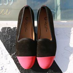Women's Black Suede + Red Nappa Cap Toe Slipper