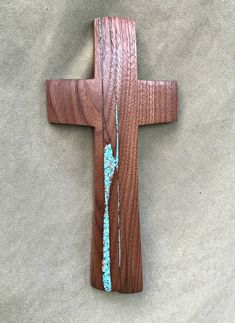 "Walnut Wall Cross with Turquoise Inlay 12""x 6"" by BlackFacedSheep on Etsy"