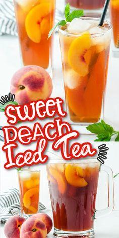 Sweet Tea Recipes, Iced Tea Recipes, Alcohol Drink Recipes, Best Iced Tea Recipe, Syrup Recipes, Making Iced Tea, Peach Ice Tea, Peach Syrup, Non Alcoholic Drinks