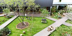 Built by HIBINOSEKKEI,Youji no Shiro in , Japan with surface Images by Studio Bauhaus. Education Architecture, School Architecture, Bauhaus Architecture, Classical Architecture, Ancient Architecture, Japanese Architecture, Landscape Architecture, Architecture Courtyard, Sustainable Architecture