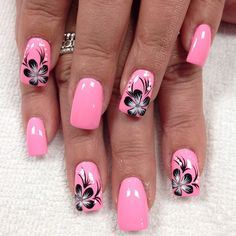 Nail art Christmas - the festive spirit on the nails. Over 70 creative ideas and tutorials - My Nails Flower Nail Designs, Pink Nail Designs, Nail Designs Spring, Acrylic Nail Designs, Spring Design, Fingernail Designs, Pedicure Designs, Designs For Nails, Tropical Nail Designs