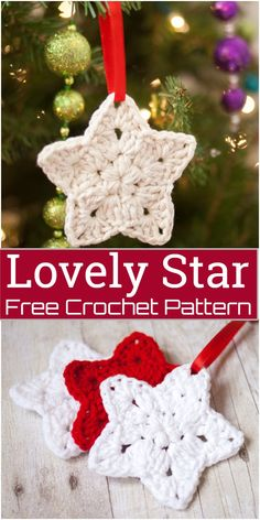Crochet Lovely Star Pattern These crochet star patterns are incredibly easy to make, just two short rounds and your star is done. You can make some stars to hang on your Christmas tree, attach them to special gifts, or work up for your home decoration.#freecrochetpattern #crochetstar #freecrochetstar #crochetstarpattern #freecrochetstarpattern Crochet Star Patterns, Crochet Snowflake Pattern, Crochet Snowflakes, Free Christmas Crochet Patterns, Crochet Christmas Garland, Crochet Ornaments, Holiday Crochet, Christmas Star, Christmas Bells