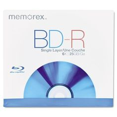 Memorex® - Blu-Ray BD-R Recordable Disc, 25GB, 6x Recording Speed - Sold As 1 Each - Uses blue-violet laser technology to support high-definition television recording with excellent HD broadcast quality. by Memorex Products. $8.29. Memorex® - Blu-Ray BD-R Recordable Disc, 25GB, 6x Recording SpeedUses blue-violet laser technology to support high-definition television recording with excellent HD broadcast quality. Storage up to five times larger than standard D...