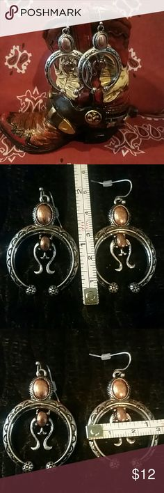 Silvertone & Coppertone Squash Blossom Earrings This is a contemporary interpretation of the traditional Squash Blossom feature small crescent-shaped antique silver with copper accent Crescent with small Center dangle. 1.5 inches at widest point by 1 inch long.Feel free to ask any questions prior to purchasing. Jewelry Earrings