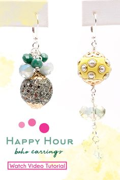Join Sara Ellis for a beaded earring tutorial featuring Happy Hour Boho Beads from Jesse James Beads paired with sparkling Swarovski, rondelle glass beads, and Beadalon wire.Techniques Highlighted: wire wrapped loops, opening and closing jump rings. Wire Wrapped Earrings, Bead Earrings, Sara Ellis, Diy Jewelry Projects, Jesse James, Bead Store, Earring Tutorial, Happy Hour, Beaded Jewelry
