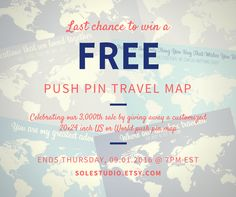 LAST CHANCE TO WIN A PUSH PIN TRAVEL MAP FOR FREE! The winner will be chosen by random Today, September 1, 2016, at 7:00 p.m. EST. LAST CHANCE TO WIN A PUSH PIN TRAVEL MAP! >> 1) Like the SoleStudio Facebook Page and  2) Comment on this post and tell us your favorite travel destination.  *This promotion is in no way sponsored, endorsed or administered by or associated with, Facebook. Each entrant and/or participant agree to provide a complete release of Facebook. #travelmap #giveaway #travel…