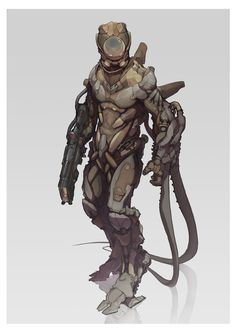 """Strider - by Philipp Kruse""""More sci-fi character design. This scout / ranger archetype is meant to be agile and somewhat robust at the same time.""""More art for this series by Philipp Kruse is being. Alien Concept, Armor Concept, Concept Art, Sci Fi Rpg, Sci Fi Armor, Auto Mower, Character Concept, Character Art, Arte Cyberpunk"""