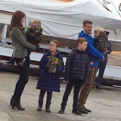 MYROYALSHOLLYWOOD FASHİON: Danish Crown Princely Family visit Nanortolik, Greenland, August 2, 2014-Crown Princess Mary with Princess Josephine, Princess Isabella, Prince Christian, Crown Prince Frederik with Prince Vincent