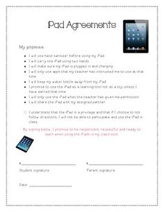 Ipad Terms Of Agreement Poster  Ipad Ipads And Behavior Management