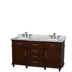 Wyndham Collection Berkeley 60 in. Double Vanity in Dark Chestnut with Marble Vanity Top in Carrara White and Oval Basin-WCV171760DCDCMUNRMXX - The Home Depot