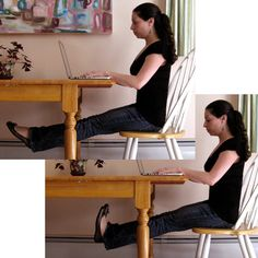 Some easy little work outs to do at your desk! Trying them as I type...
