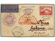 CUBA. 1931 (24-VII). ALEMANIA a LA HABANA. Circulada con sello alemán de 1 MK carmín en el GRAF ZEPPELIN hasta Leningrado (fechador en anverso) y por correo normal hasta La Habana (al dorso llegada). Marca del vuelo en magenta. Muy raro destino a Cuba en el POLARFAHRT.