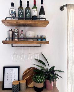 Narrow Shelves, Bar Shelves, Floating Shelves, Home Theater Room Design, Plasterboard Wall, Gin, Diy Home Bar, Bar Cart Styling, Masonry Wall
