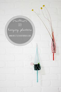 DIY Macrame Plant Hangers To Craft In Your Spare Time  Collect clear empty wine bottles to use as vases. Use this method as a way to hang them on the wall(s) for interior decor.