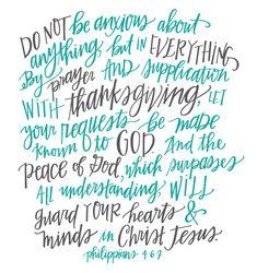 Philippians 4:6-7 || Hand-lettered Art Print || Instant Digital Download