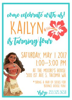 Custom Invitations And Signs By LandriBoutique 5th Birthday Party Ideas Moana
